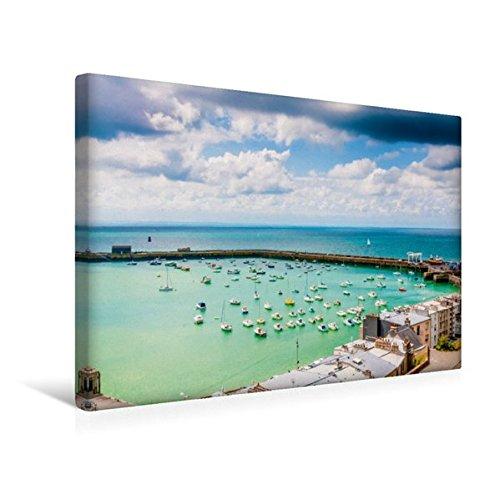 Premium Textil-Leinwand 45 cm x 30 cm quer, Hafen von Granville | Wandbild, Bild auf Keilrahmen, Fertigbild auf echter Leinwand