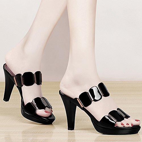 abierta Negro Moda ZHIRONG UK6 Zapatillas altos punta Blanco romanas Verano Negro Tacones EU39 Blanco CM con CN39 Tacones Tamaño Color Sandalias 9 1w8I8