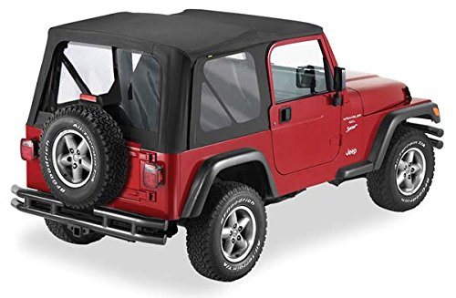 01 Top Wrangler Jeep (Pavement Ends by Bestop 51198-15 Black Denim Replay Replacement Soft Top Clear Windows; No door skins included for 1997-2002 Jeep Wrangler)