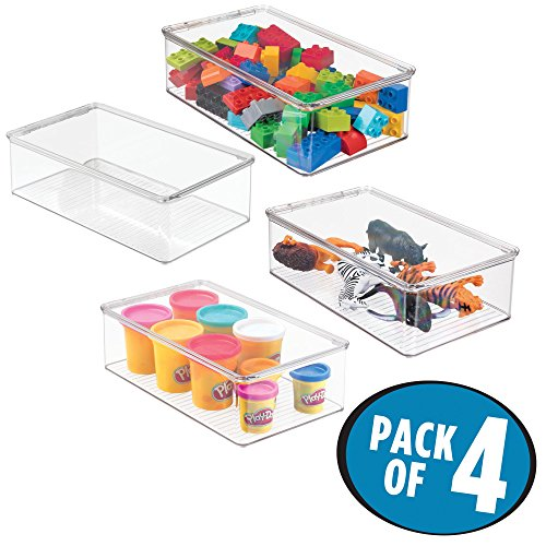 mDesign Plastic Toy Storage Bin with Hinged Lid - Kid/Child Playroom Organizer for Toys - Cars, Dolls, Baby Doll Clothes, Puzzles, Army Men, Building Blocks - BPA Free, Stackable, Pack of 4, Clear