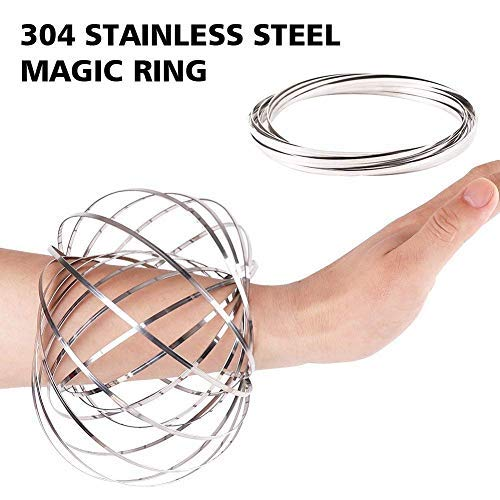HAS 304 Stainless Steel Firm Flow Ring Magic Bracelet Toy for Stress Relief Kinetic Science Educational Spring Ring Multi - Sensory Interactive Cool Dance Prop 1PCS (Silver)