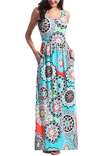 Zattcas Women Floral Tank Maxi Dress Pocket Sleeveless Casual Summer Long Dress (XX-Large, Multi Turquoise)
