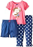 Little Me Baby Girls' Sweet Monkey 3 Piece Pajamas