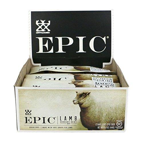 Epic All Natural Meat Bar, 100% Natural, Lamb, Currant & Mint, 1.3 ounce bar, 12 Count
