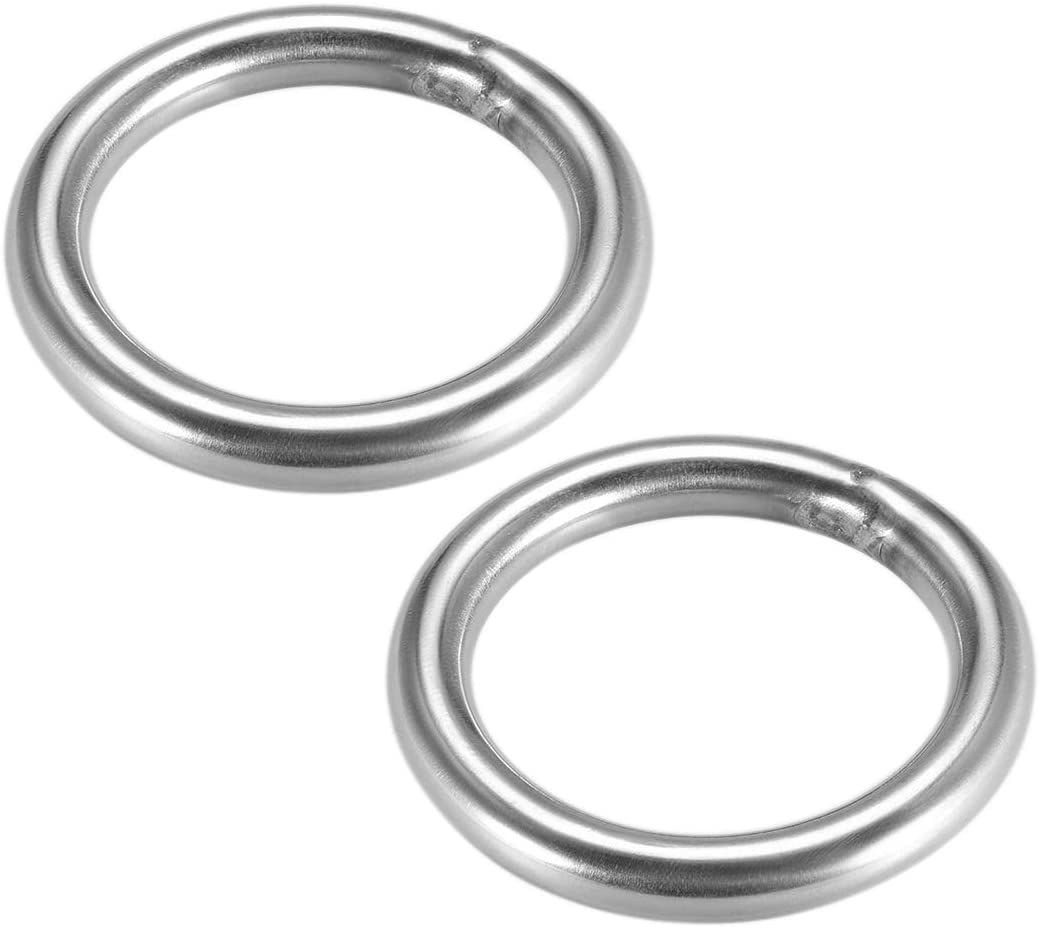 uxcell Stainless Steel O Ring 40mm 1.57 Outer Diameter 5mm Thickness Strapping Welded Round Rings 2pcs