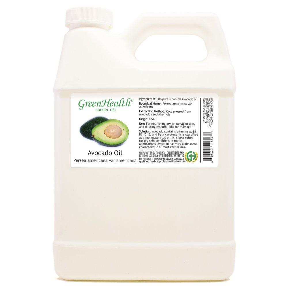 GreenHealth Avocado - 32 fl oz (946 ml) Plastic Jug w/Cap - 100% Pure Carrier Oil by GreenHealth