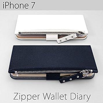 8ac5e90cf41b 【カラー:ネイビー】iPhone7 ゼヌス ジッパー ウォレット ダイアリーケース 手帳型ケース 手帳型