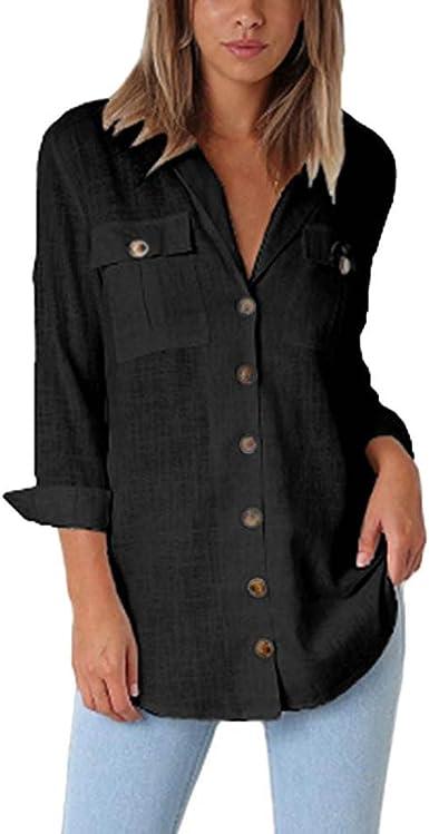 NPRADLA - Camiseta de Manga Larga para Mujer, de algodón ...