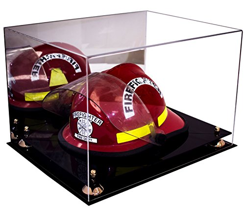 Deluxe Acrylic Fireman's Helmet Large Display Case with Gold Risers and Mirror (A014-GR) -