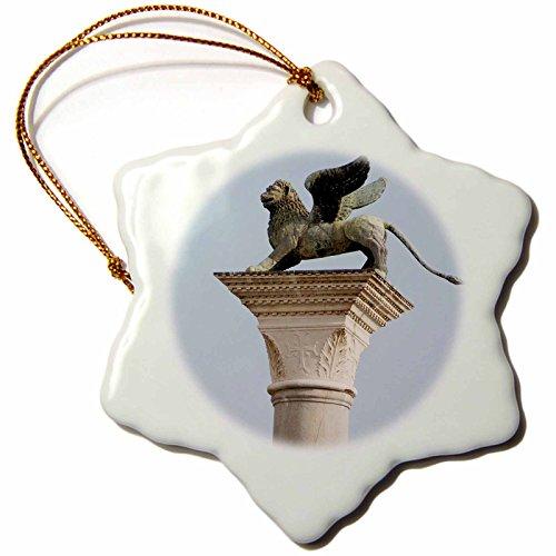3dRose orn_82161_1 Winged Lion Statue, Saint Mark, Piazzetta, Venice. Italy-Eu16 Pri0186-Prisma-Snowflake Ornament, 3-Inch, Porcelain by 3dRose