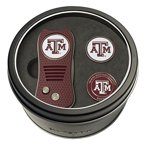 Team Golf NCAA Texas A&M Aggies Gift Set Switchblade Divot Tool with 3 Double-Sided Magnetic Ball Markers, Patented Single Prong Design, Causes Less Damage to Greens, Switchblade Mechanism
