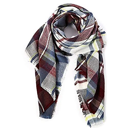 (Zando Women's Fall Winter Scarf Plaid Scarf Warm Soft Chunky Large Blanket Wrap Shawl Scarves Fuchsia)