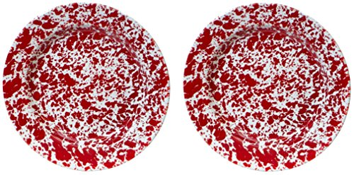 10 Inch Enamelware Plate - Crow Canyon - Set of 2 10 Inch Enamelware Dinner Plates (Red Marble)