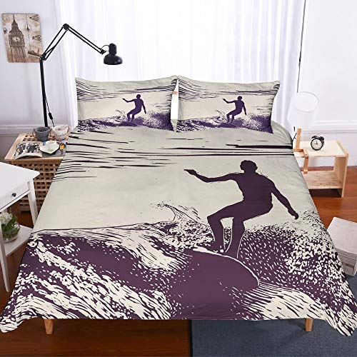 REALIN Surfing Bedding Blue Sky White Clouds Surfing Duvet Cover Set Retro Surfing Sports Events Bed Sets,2/3/4PCSMicrofiber Quilt Covers/Sheets/Pillow Shams,Twin/Full/Queen/King Size (Surfing Baby Bedding)