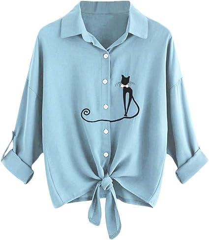 Winjin - Camiseta para mujer y niña, bordada, con lazo, dobladillo, camisa, manga larga, botones altos para mujer, moda y personalidad, deportes, ...