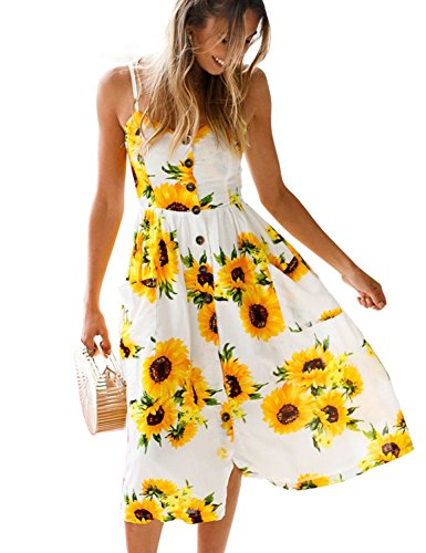 Blooming Jelly Women's Summer Sunflower Button Down Spaghetti Strap Floral Print Midi Dress Sundress with Pockets (Multicoloured, Small) Bright Floral Sundress