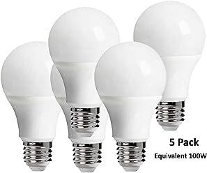 5 Pack LED Bulb E27 15W Equivalent 100W 85-265V White / Warm White Lampada