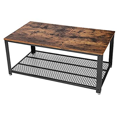VASAGLE Industrial Coffee Table with Storage Shelf for Living Room, Wood Look Accent Furniture with Metal Frame, Easy Assembly, Rustic Brown ULCT61X - A WELCOMING FEEL: Some styles of furniture with neutral colors often look cold and unwelcoming, but not this coffee table; with warm wood tones and trendy vintage features, it gives your living room an antique, cozy flair PERFECT DESIGN: The sturdy, matte-black iron frame and robust tabletop with a vintage look are precisely the elegant mix of styles that give this piece of living room furniture an individual character and remarkable stability A PLACE FOR BOOKS OR CATS?: The metal grid on the lower part of this tea table serves as a shelf that can hold up to 88 lbs. of books, remote controls or maybe even your cats, if they happen to find a comfortable spot - living-room-furniture, living-room, coffee-tables - 51kL4 qZCJL. SS400  -