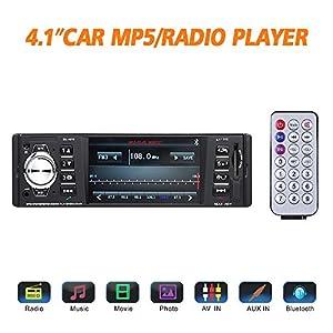 "Masione Bluetooth Car Stereo FM Radio In Dash Masione 4.1"" HD TFT Screen MP3 Audio Video Player Single Din FM/SD/USB/AUX-in/Hands-Free Calls 12V Support Rear View Camera Input+Wireless Remote"