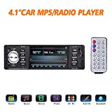 "Masione Bluetooth Car Stereo FM Radio In Dash Masione 4.1"" HD TFT Screen MP3 Audio Video Player Single Din FM/SD/USB/AUX-in/Hands-Free Calls 12V Support Rear View Camera Input+Wireless Remote"