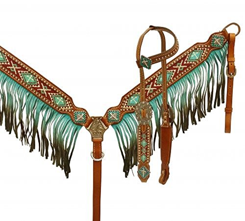 Teal Beaded Cross Conchos Leather Crystals Bridle Fringe Breast Collar Reins Set ()