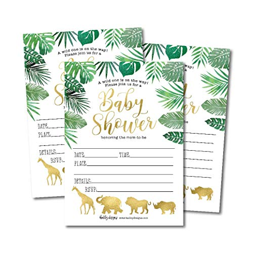 25 Safari Baby Shower Invitations, Sprinkle Invite for Boy or Girl, Gender Neutral Reveal Jungle Animal Theme, Cute Printed Fill or Write in Blank Printable Card, Coed Twin Party Stock Paper Supplies ()