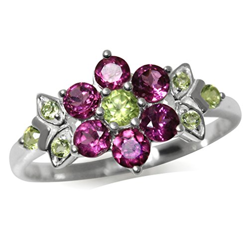 Natural Rhodolite Garnet & Peridot 925 Sterling Silver Flower & Leaf Ring Size 6
