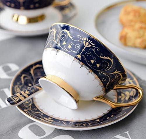 YBK Tech Tasse et soucoupe de style euro en porcelaine anglaise Motif roi Bleu fonc/é