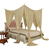 How Much Bigger Is a Queen Than a Full Rectangle Mosquito Net Roman Palace Style Golden 4 Corner Post Bed Canopy (Ivory)