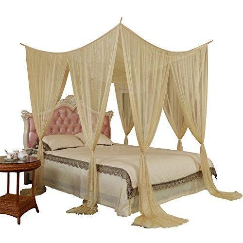 4 Corner Post BED CANOPY Rectangle MOSQUITO NET Roman Palace Style Golden- Ivory  sc 1 st  eBay & 4 Corner Post BED CANOPY Rectangle MOSQUITO NET Roman Palace Style ...