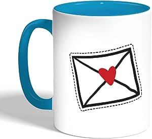 كوب سيراميك للقهوة، لون بنك، بطبعة ظرف رسالة