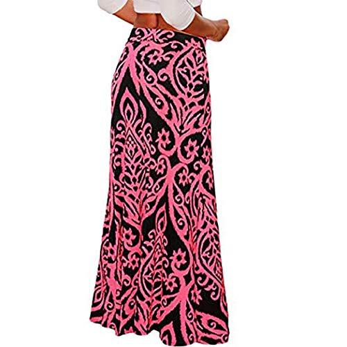 de en Boho lastique Haute Large De Forme Longue Yoga Rose de Maxi Jupe Jupe Ouverture Floral Extensible Longue Cocon Femmes Taille Vif Sixcup Moulante t0vCqZw