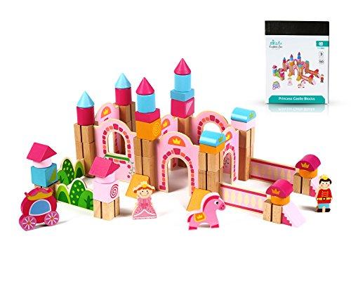 Cubbie Lee New & Unique Princess Pink Castle Wooden Building Block Set for Toddlers Preschool Age - Hardwood Plain & Colored Small Wood Blocks for Children - Basic Educational Kids Build & Play Toy