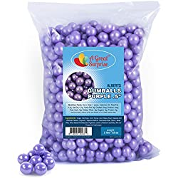 Gumballs in Bulk - Purple Gumballs for Candy Buffet - Mini Shimmer Gumballs 1/2 Inch, Bulk Candy 2 LB