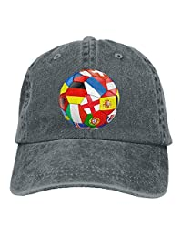 MDFY OEWGRF Football with Flags Unisex Adjustable Baseball Caps Denim Hats