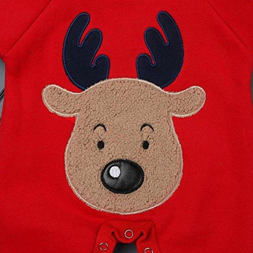 QUICKLYLY Navidad Peleles Pijamas Conjunto Bebé Niño Niña Recién Infantil  Elk Largo Manga Mono Ropa De b504804e5e9c