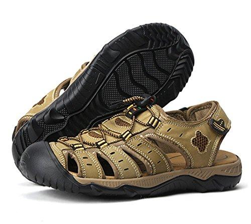 Bininbox Été Hommes En Cuir Athlétique Sport Sandales Fermé Orteils Appartements Chaussures Kaki