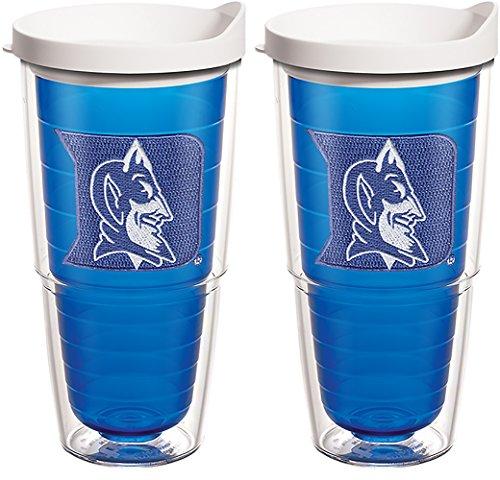 Tervis 1078204 Duke Blue Devils Logo Tumbler with Emblem and White Lid 2 Pack 24oz, Blue