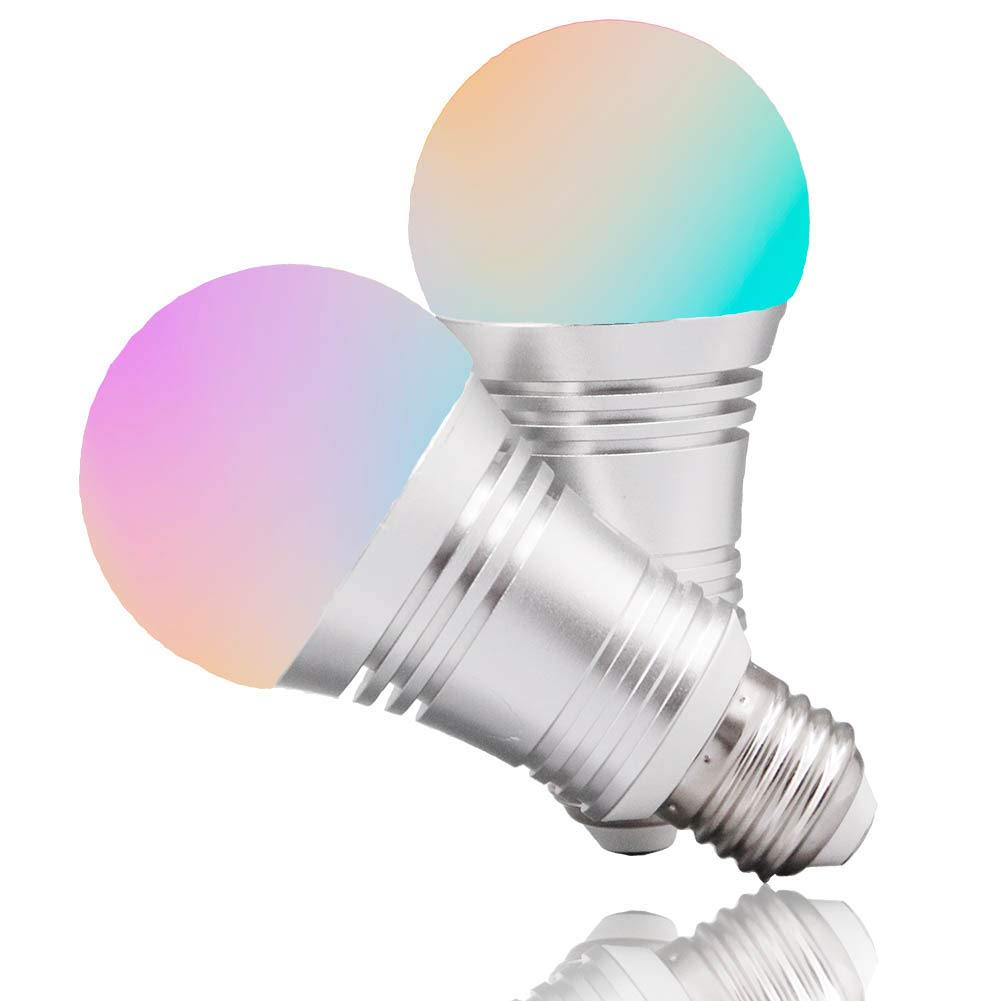 Boaz SmartLife E27,APP and Voice Assistant Controlled Smart Bulb,RGBW Color Changing Smart Light Bulbs,Dimmable White Light to Warm Yellow Smart LED Bulb,Works with Alexa and Google Assistant(2pack)