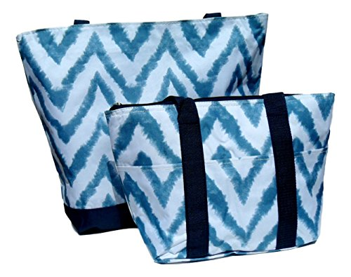 Sale Best Blue Chevron 2 in 1 Reuseable Grocery Tote Bag & Pack Lunch Box Set Fun Easter Basket Clearance Gift Idea Under 30 Dollars Shopping Work Purse Unique Great Birthday for Girl Her Women Wife