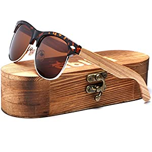 Ablibi Bamboo Wood Clubmaster Sunglasses with Polarized Lenses in Original Boxes (Zebra Wood, Brown)