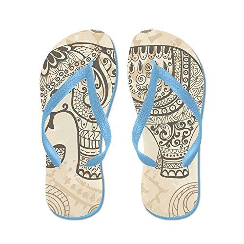 Cafepress Vintage Elephant - Chanclas, Sandalias Thong Divertidas, Sandalias De Playa Caribbean Blue