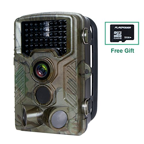 Hunting Trail Camera,FLAGPOWER Wildlife Game Camera 16MP 1080P HD Low Glow with Time Lapse 75ft 120°Wide Angle Infrared Night Vision 46pcs IR LEDs 2.4'' LCD Screen IP56 Scouting Cam Deer Camera by FLAGPOWER