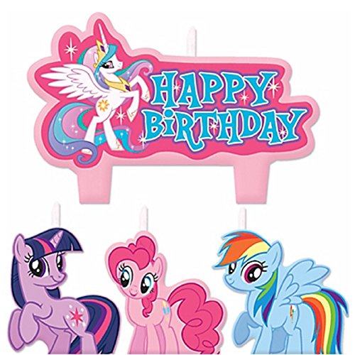 Party Time My Little Pony Friendship Molded Mini Character Birthday Candle Set, Pack of 4, Pink , 1.25