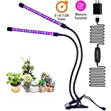 LED Grow Light for Indoor Plants, AEJSLOK 18w Dual Head Timing Plant Grow Lamp with Adjustable Gooseneck, 5 Dimmable Levels & 3/6/12H Timer for Indoor Garden Greenhouse Plants Houseplants
