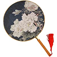 2PCS Cotton Fabric Fan Print Decor Bamboo Handle Round Hand Fan, Grey blue