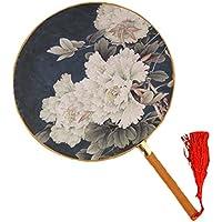 2PCS Cotton Fabric Fan Print Decor Bamboo Handle Round Hand Fan, Grey blue