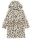 DELEY Unisex Baby Boys Girls Hooded Bathrobe Soft Coral Fleece Pajamas Dressing Gown Sleepwear Nightgown Leopard 100