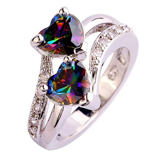 (Women's Rings,Chaofanjiancai Ladies Rhinestone Double Heart Silver Ring Vintage Crystal Wedding Engagement Lover Jewelry)