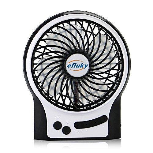efluky 4.5 Zoll Mini USB aufladbare Fan 3 Geschwindigkeiten mit LED-Licht Beweglicher Tischventilator Kühlventilator Tischventilator -Laptop-Fan für Heim und Büro, Innen- und Außenbereich (schwarz)